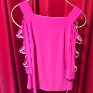 MSK pink blouse with diamond studded half arms.